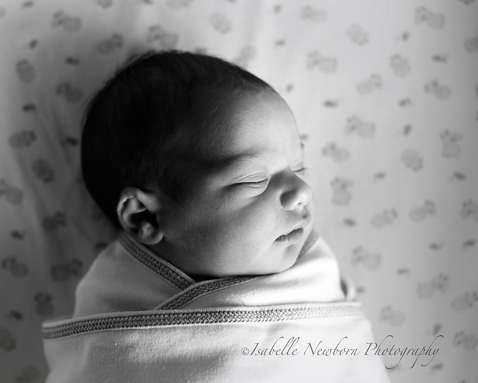 black and white newborn photograph